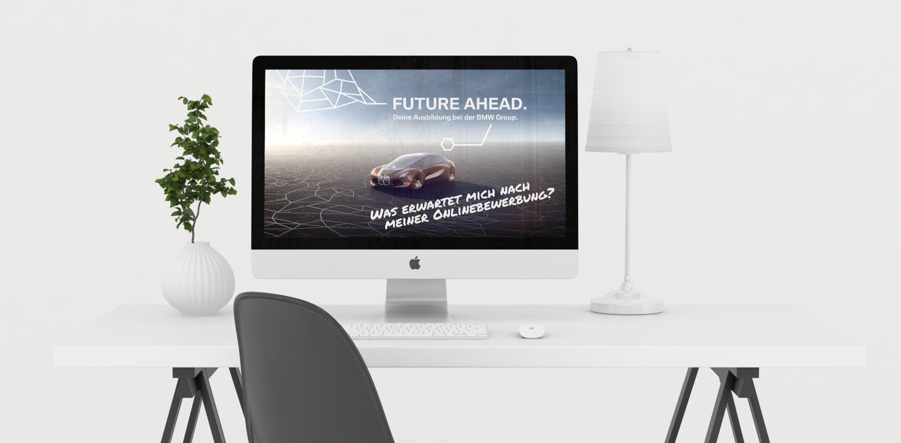 iMac mit Standbild BMW Social Media Clip Recruiting