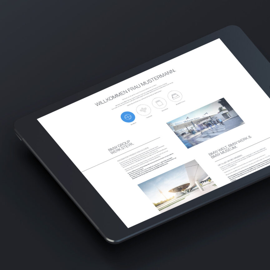 BMW Digitales Welcome Package Tablet responsive Design