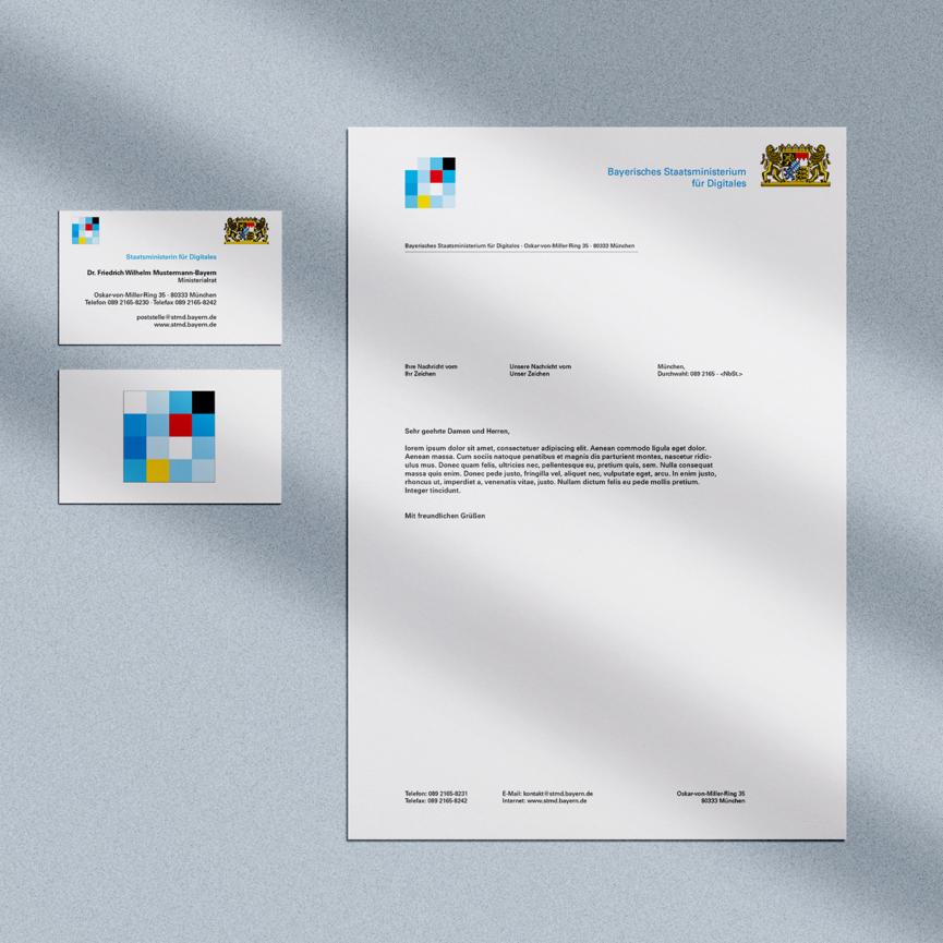 Geschaeftsausstattung Bayerisches Staatsministerium fuer Digitales