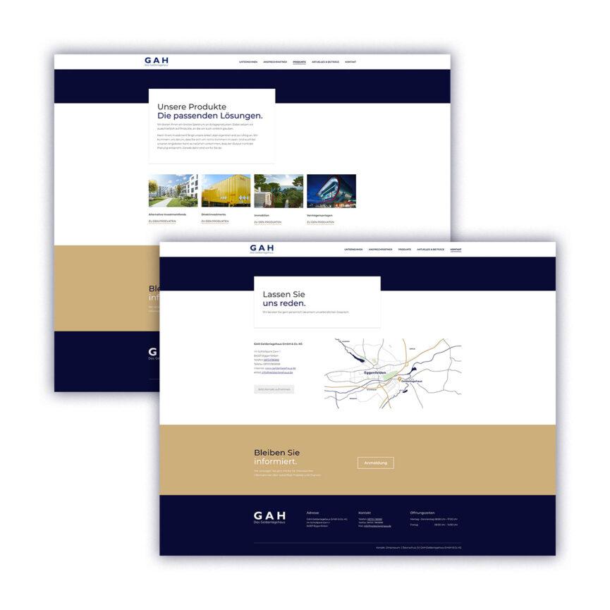 Website Unterseiten Geldanlagehaus