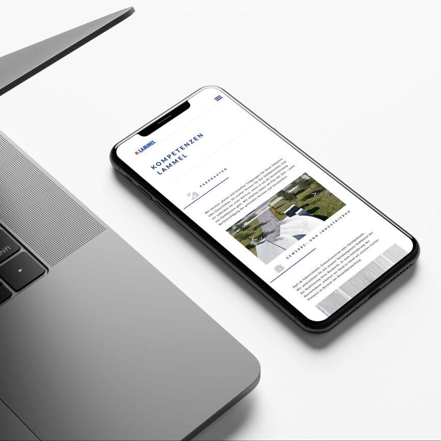 Lammel Website Design mobile Ansicht