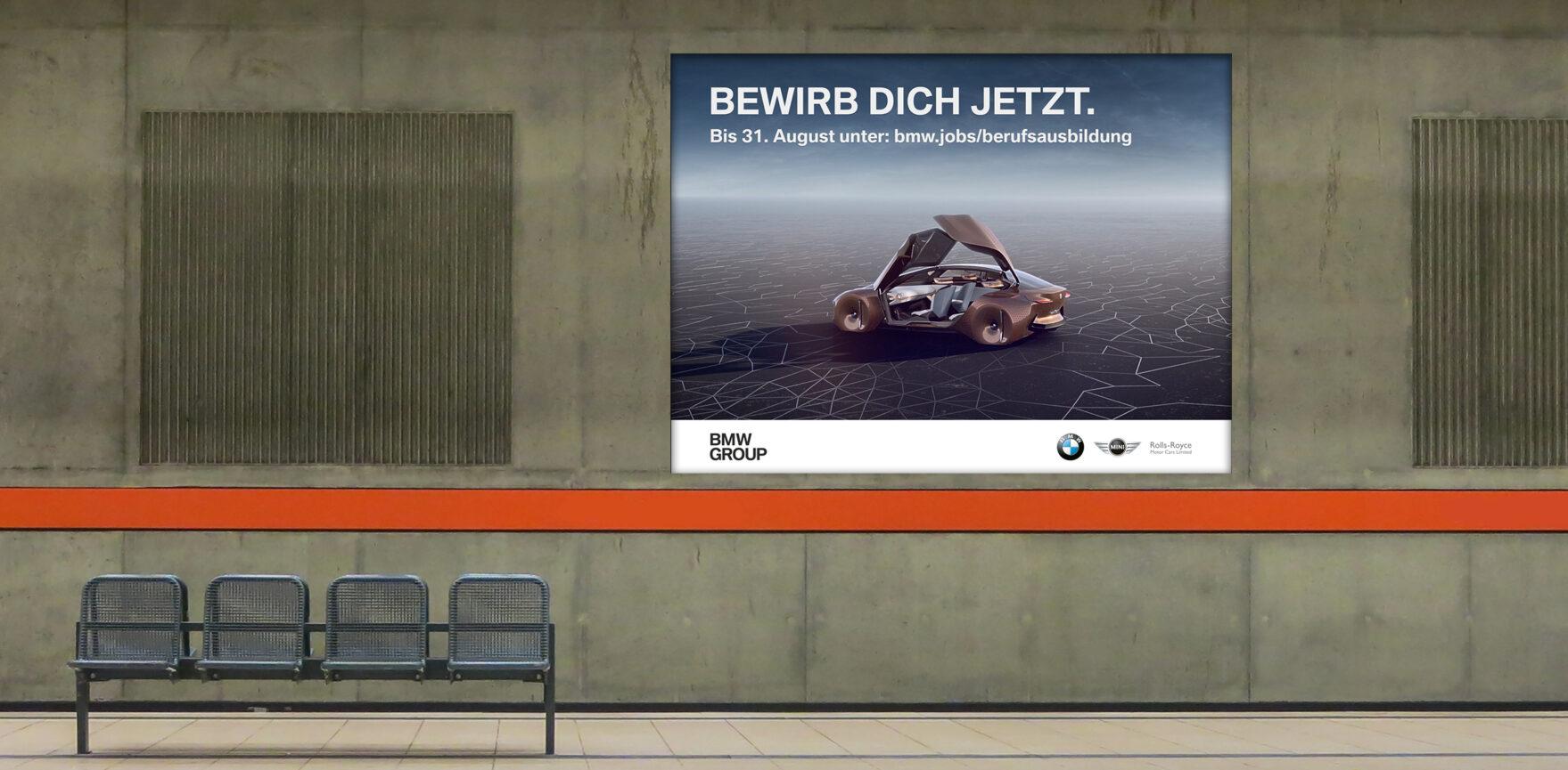 U-Bahn Screen-Werbung BMW HR