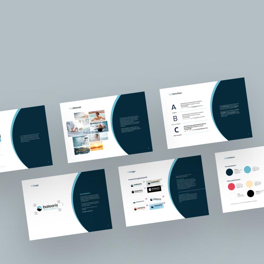 balearis Whirlpools Namensgebung Branding CD Guide Übersicht der Guidelines