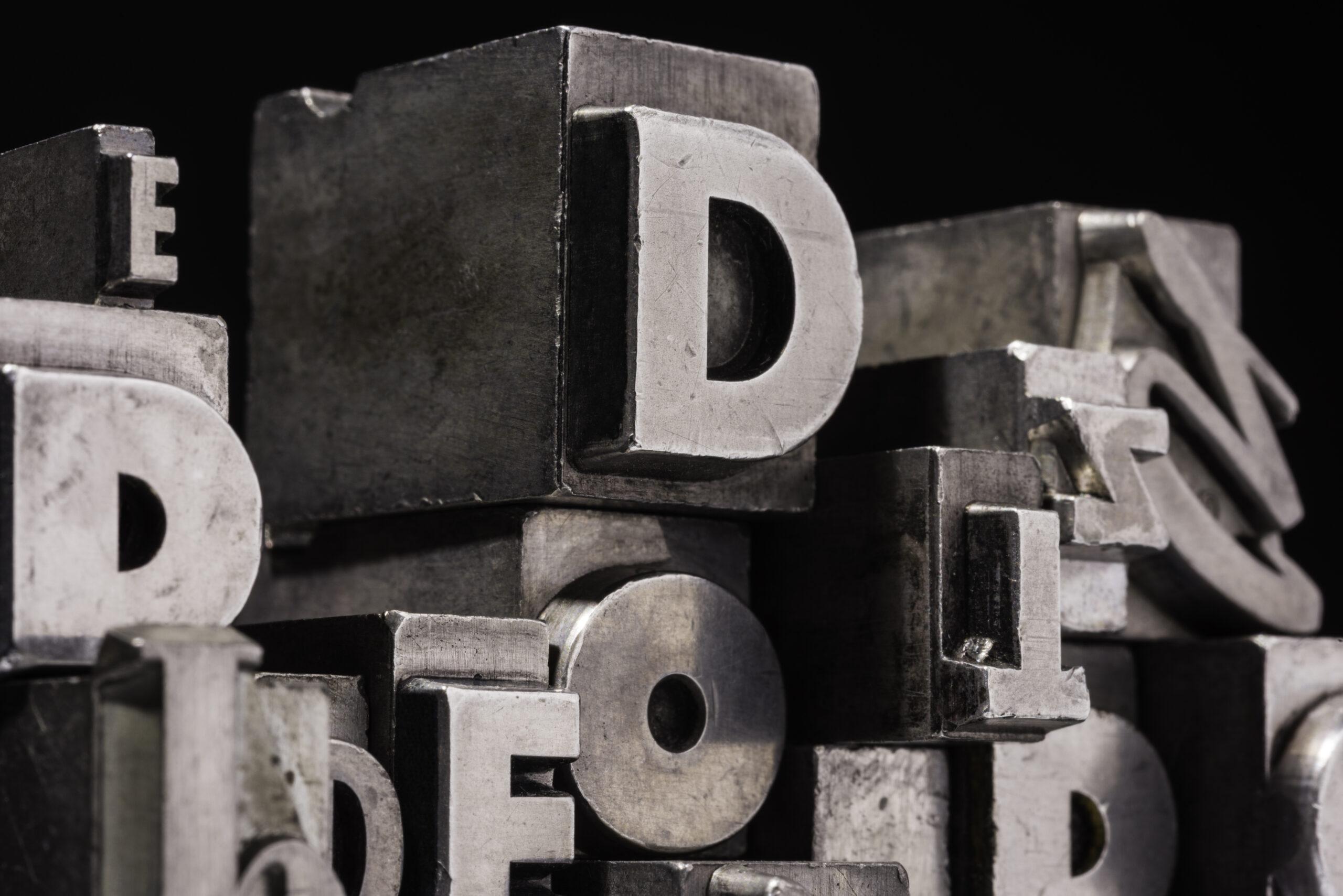 Typografie Buchdruck Buchstaben