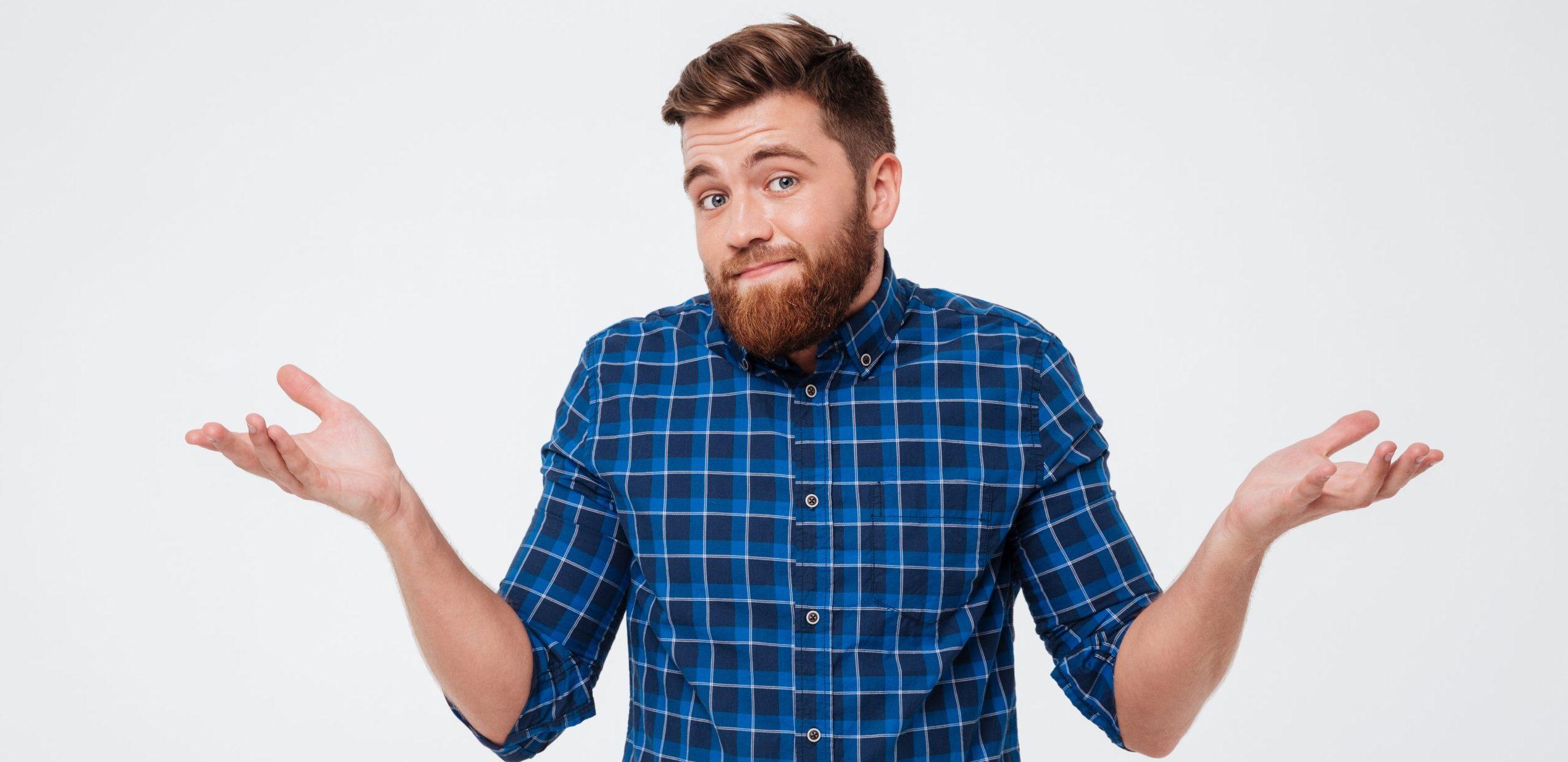 Laravel: Verwirrter junger Mann mit Bart