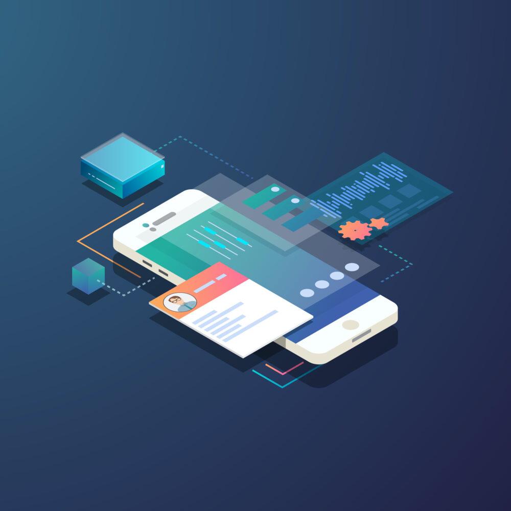 Grafik Smartphone mit austauschbaren Software Bausteinen