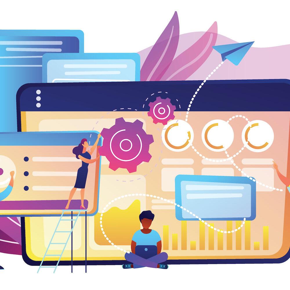 Grafik mit bunten Bildschirmen und Einstellungen