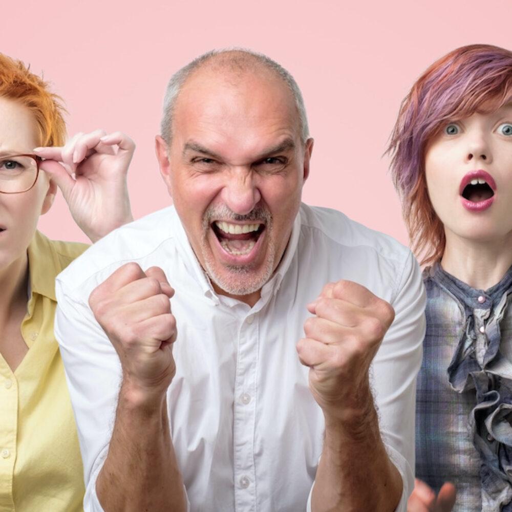 Mehrere Personen mit unterschiedlichen Emotionen