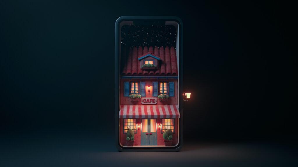 Animiertes Cafe in einem Smartphone