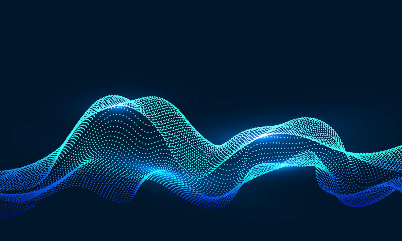 Abstrakte blaue Datenwelle
