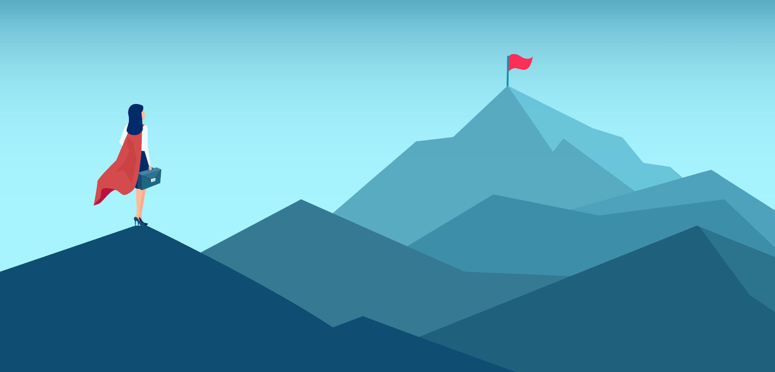 Frau auf Berg schaut auf Bergspitze