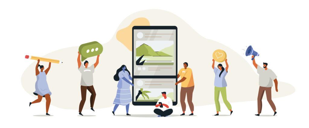 Menschen interagieren mit Smartphone