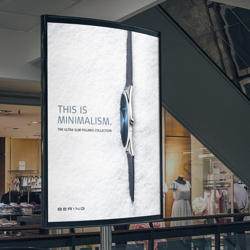 OOH Werbung BERING Branding Keyvisual ULTRA SLIM Kollektion Uhr im Schnee