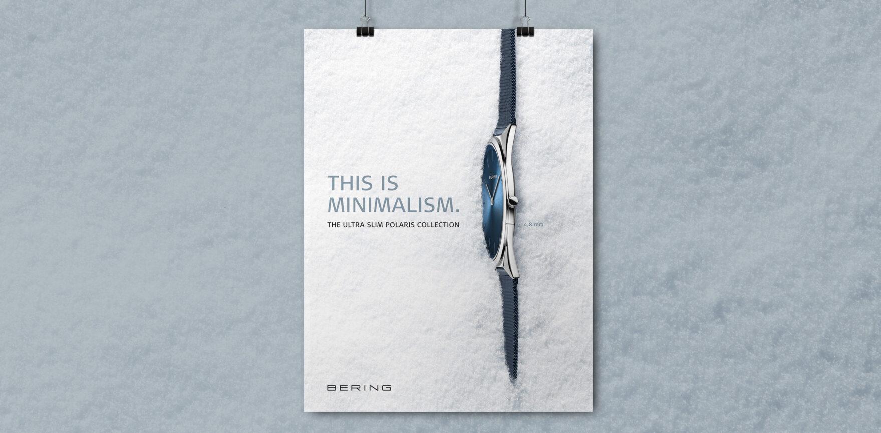 BERING Branding ULTRA SLIM Kollektion Uhr im Schnee Plakat Keyvisual