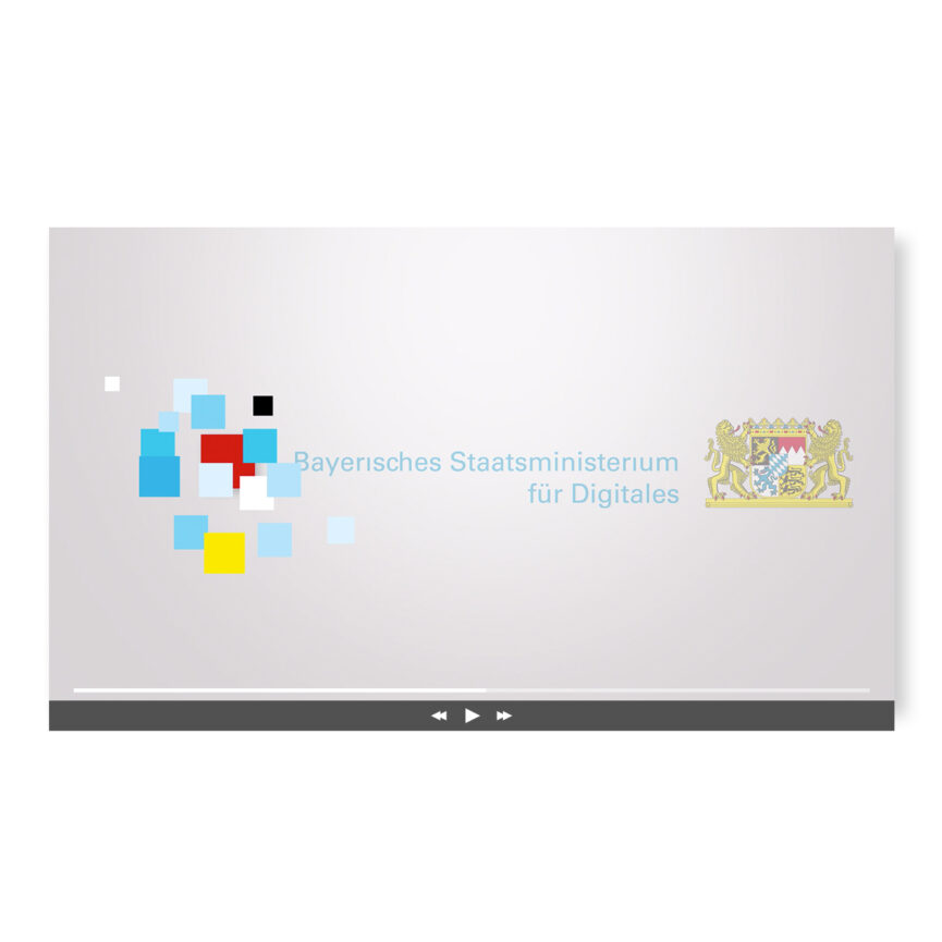 Ansicht Desktop Animation Wort-Bild-Marke Bayerisches Staatsministerium für Digitales