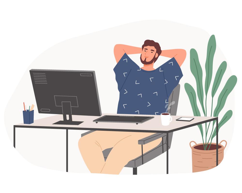 Icon Relaxt im Homeoffice