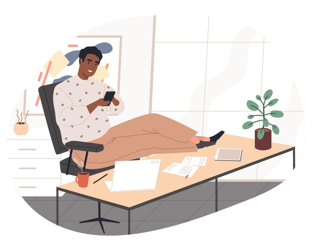 Icon Handy am Schreibtisch
