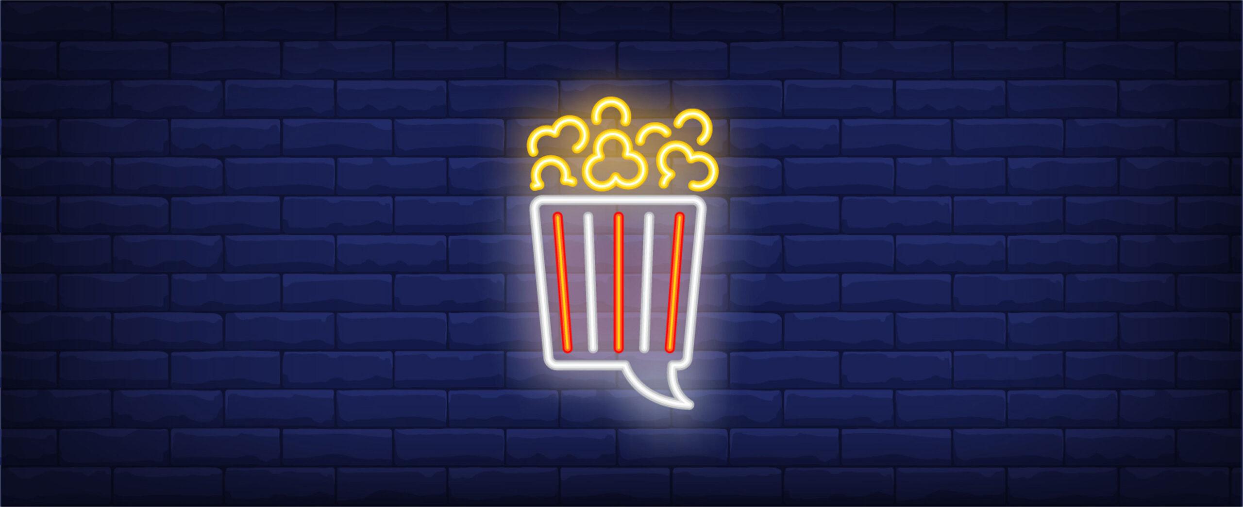 Popcorn Illustration Leuchtschrift