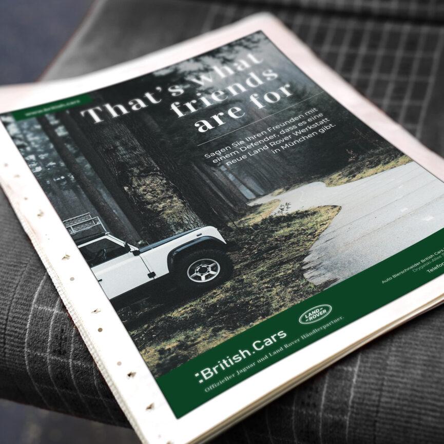 Zeitungsanzeige Marketing Print und Online fuer Bierschneider British Cars GmbH & Co. KG