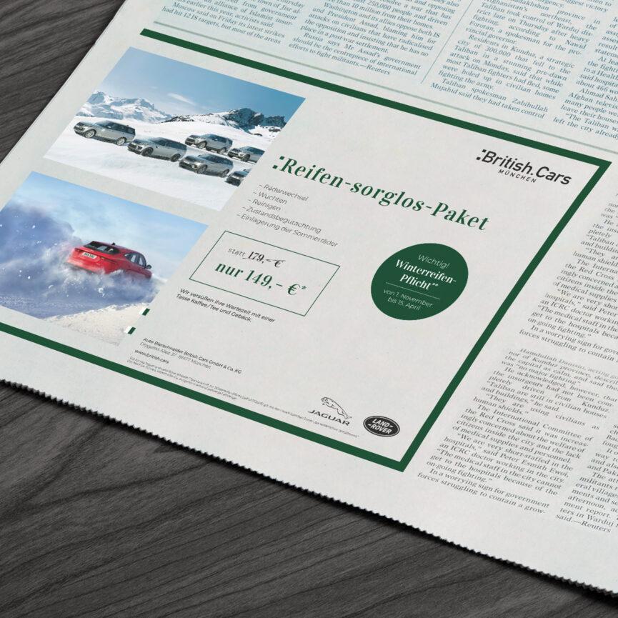 Zeitungsanzeige British Cars in Tageszeitung