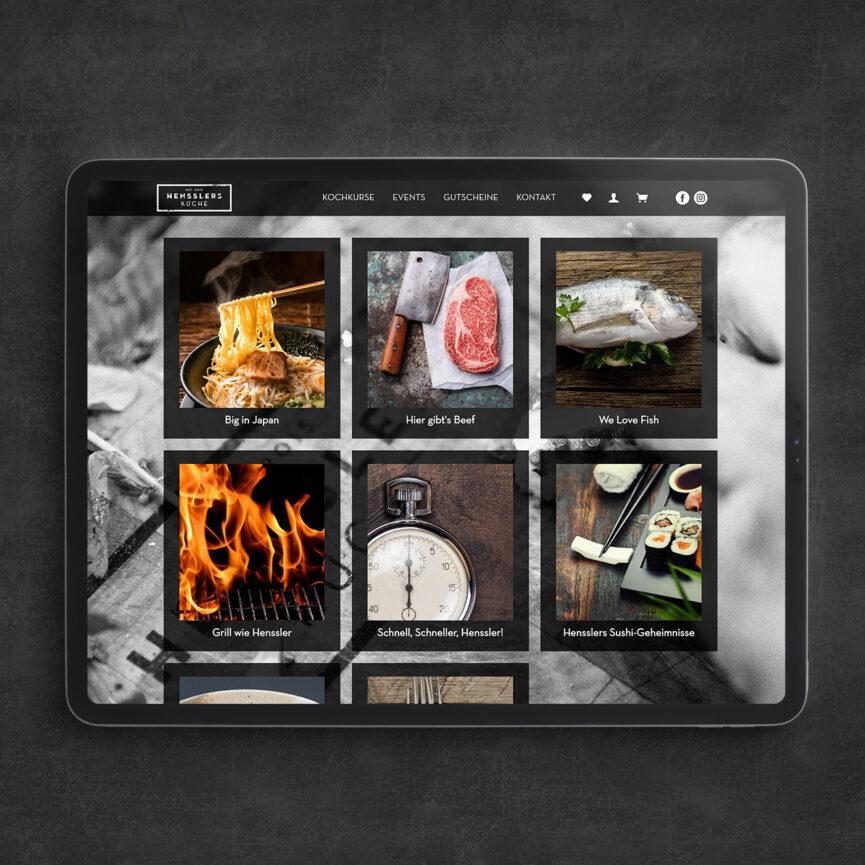 Kursuebersicht Hensslers Kueche auf einem iPad