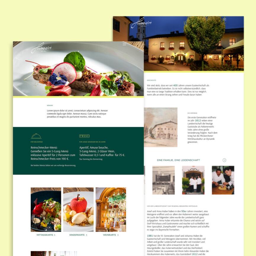 Huberwirt Website Relaunch Startseite Unterseite Geschichte