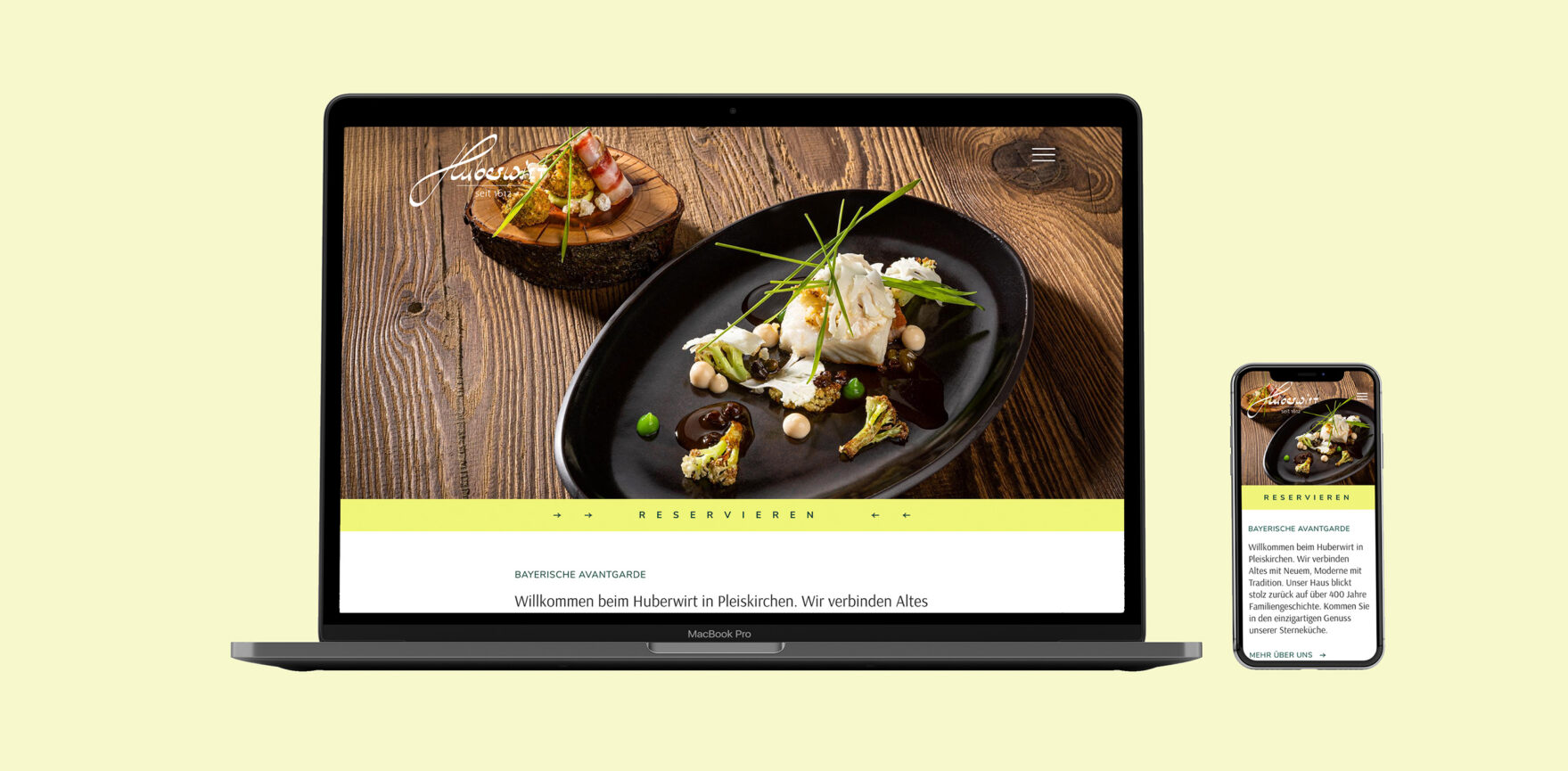 Huberwirt Website Relaunch MockUp Laptop Smartphone