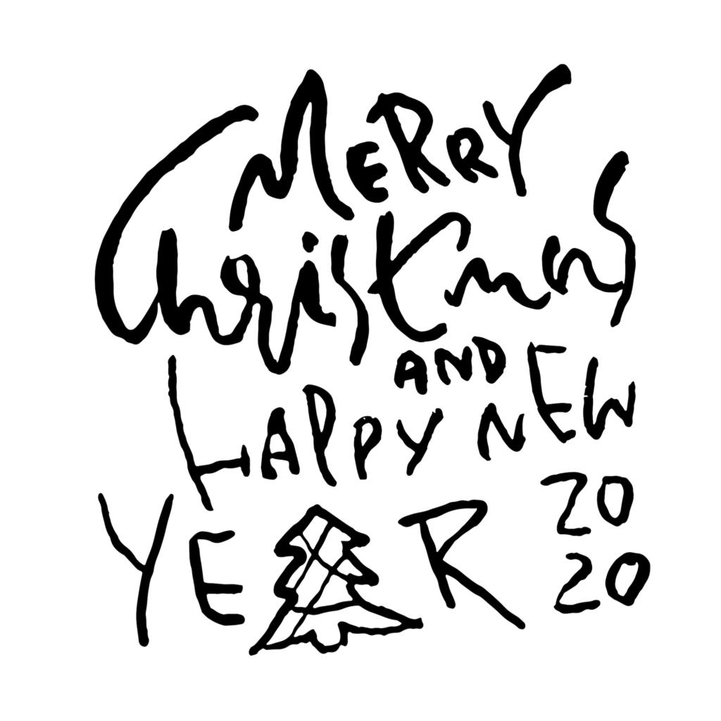 Weihnachtskarte mit Merry Christmas and a happy new year Schriftzug