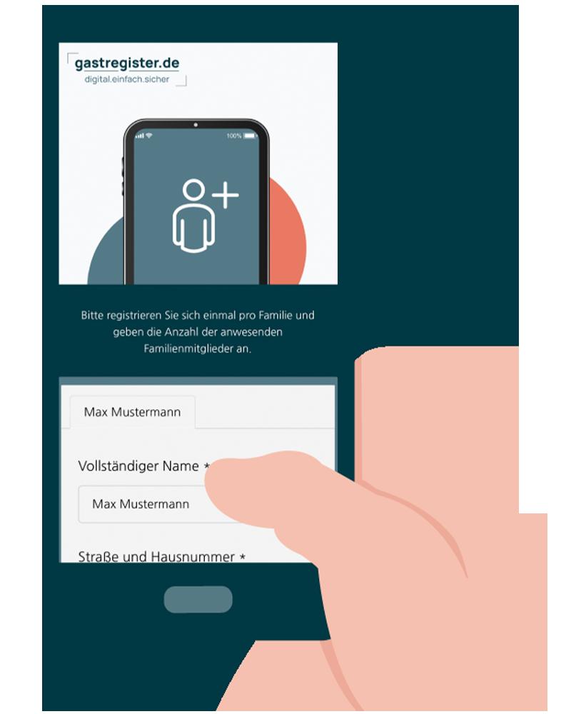 Smartphone mit Anmeldeformular für Gastregister