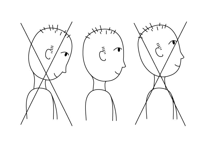 Gezeichnete Person mit richtiger und falscher Kopfhaltung