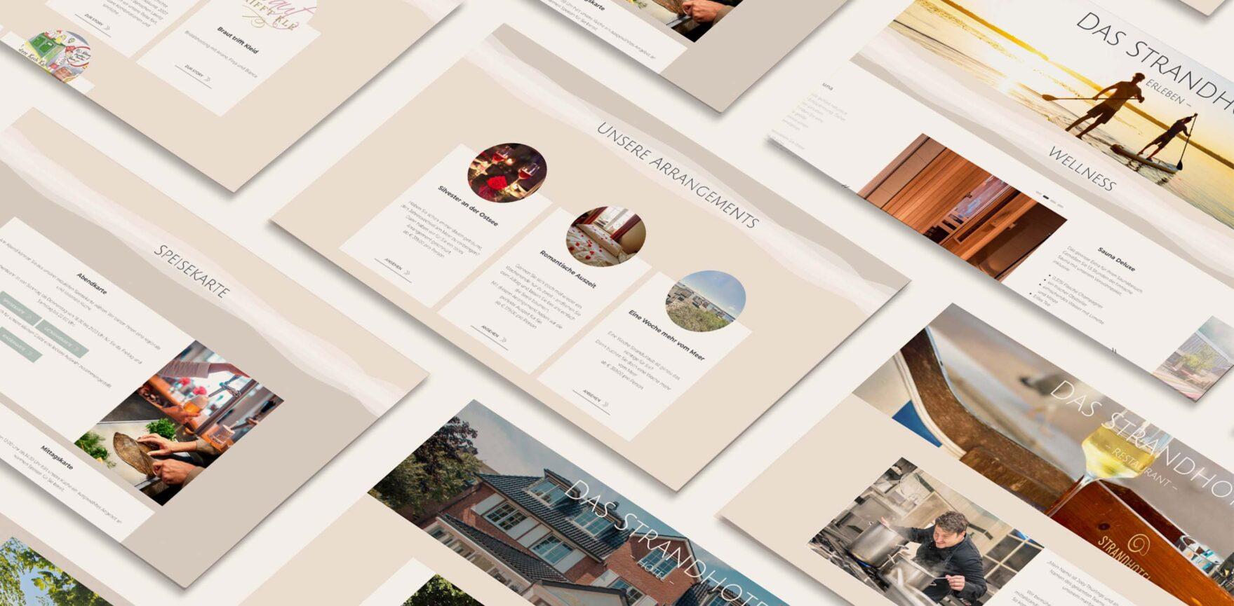 Uebersicht der Unterseite von Website Relaunch Strandhotel