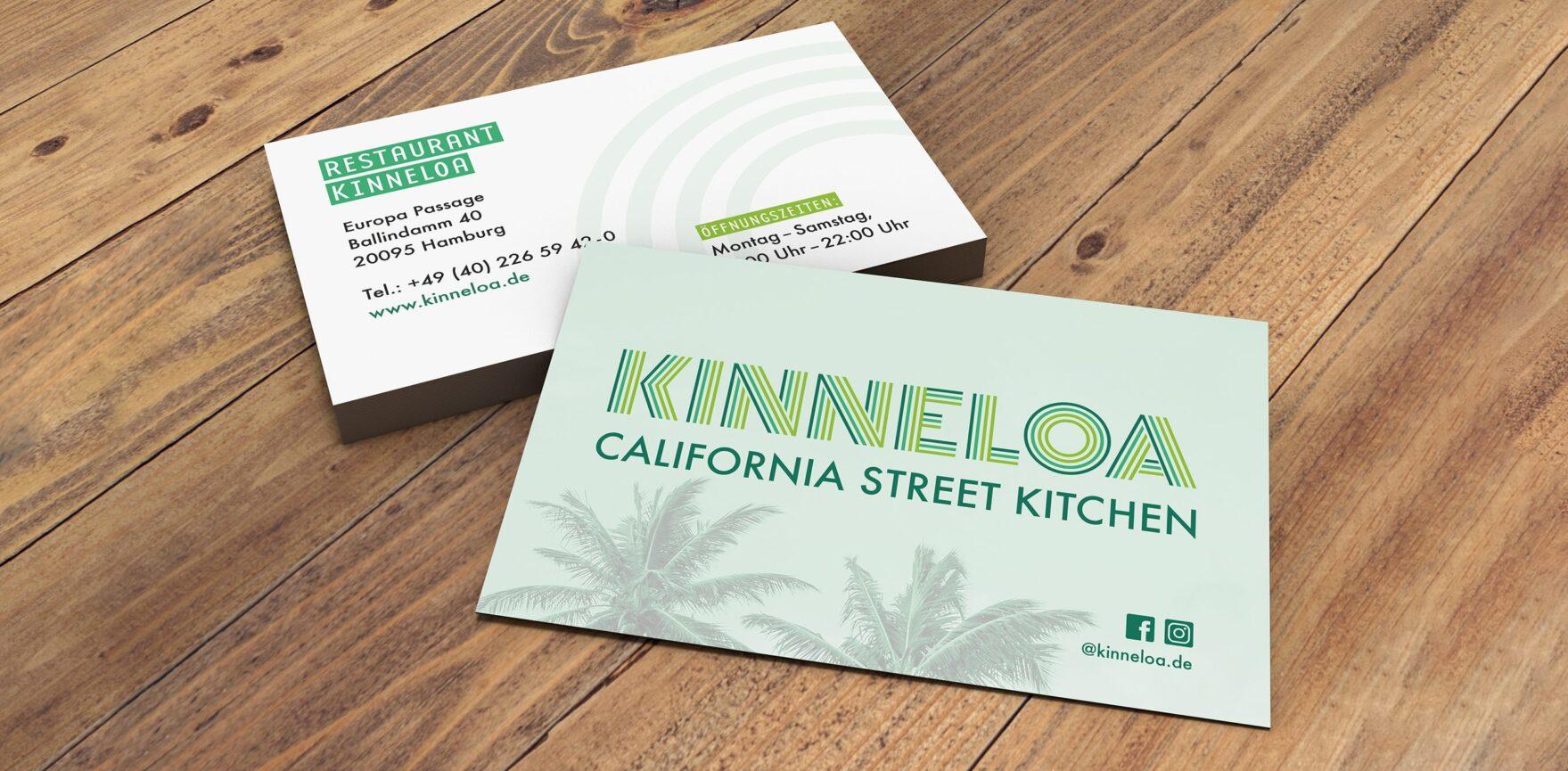KINNELOA Visitenkarten Vorher- und Rueckseite
