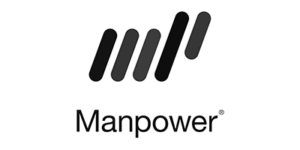 Logo der Agentur Manpower in schwarz-weiß