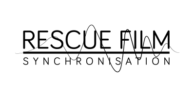 Symbol der Rescue Film Synchronisation in schwarz weiß