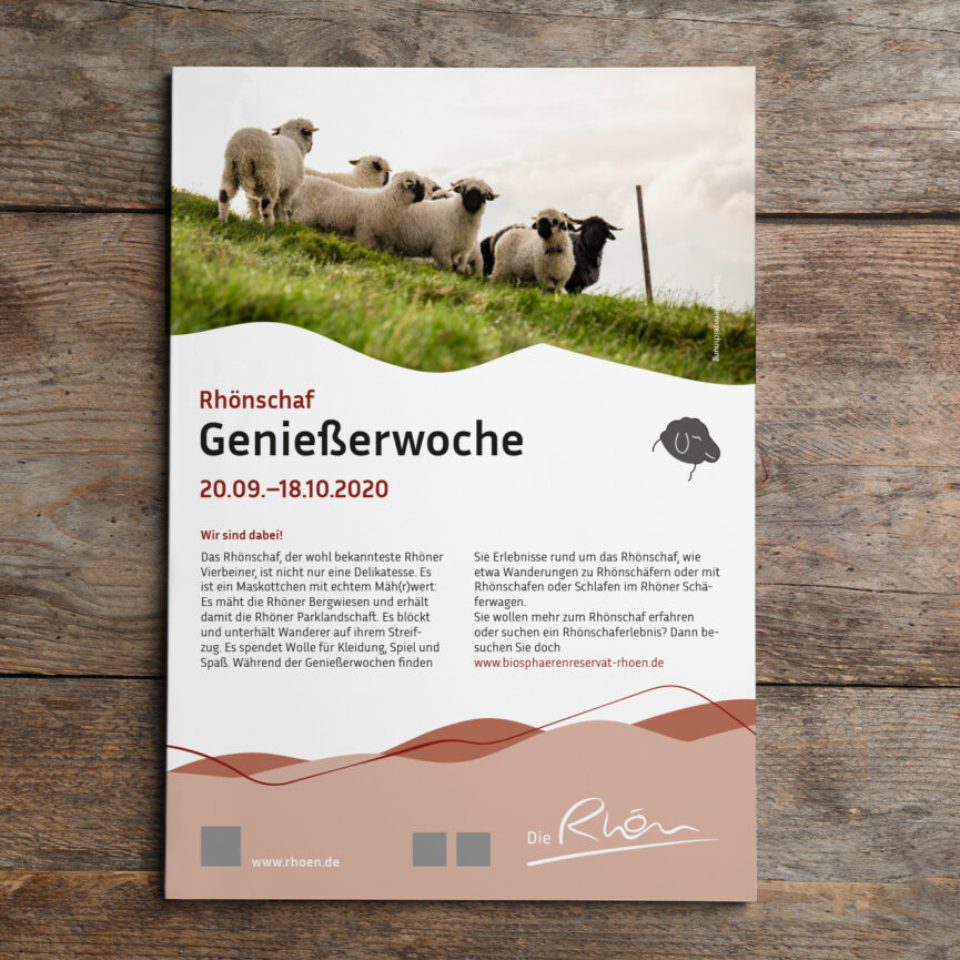 Rhön GmbH Corporate Design Überarbeitung Plakat auf Holz