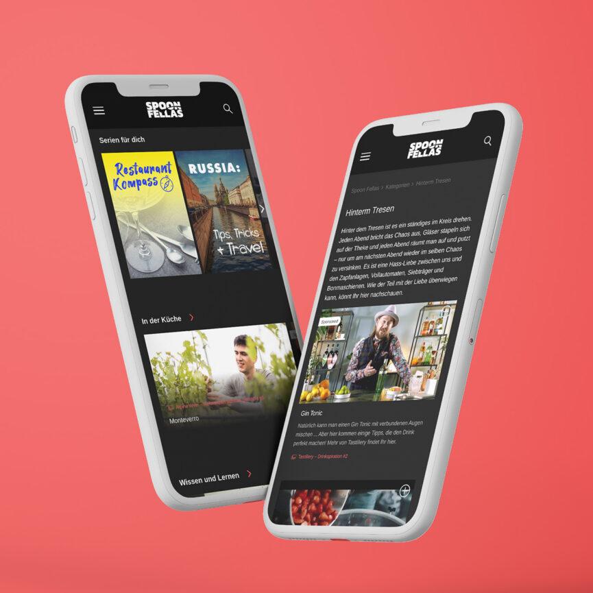 Spoon Fellas Videoplattform Website mobile Ansiche responsive Design