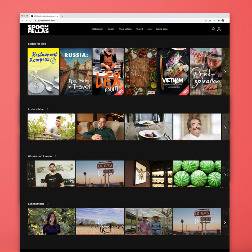 Spoon Fellas Videoplattform Website Kategorien Übersicht