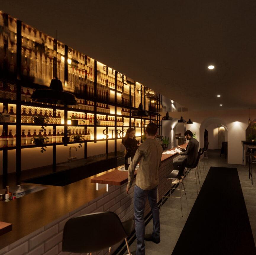 STRIZZI Interior Design Bar 3D mit Gasten