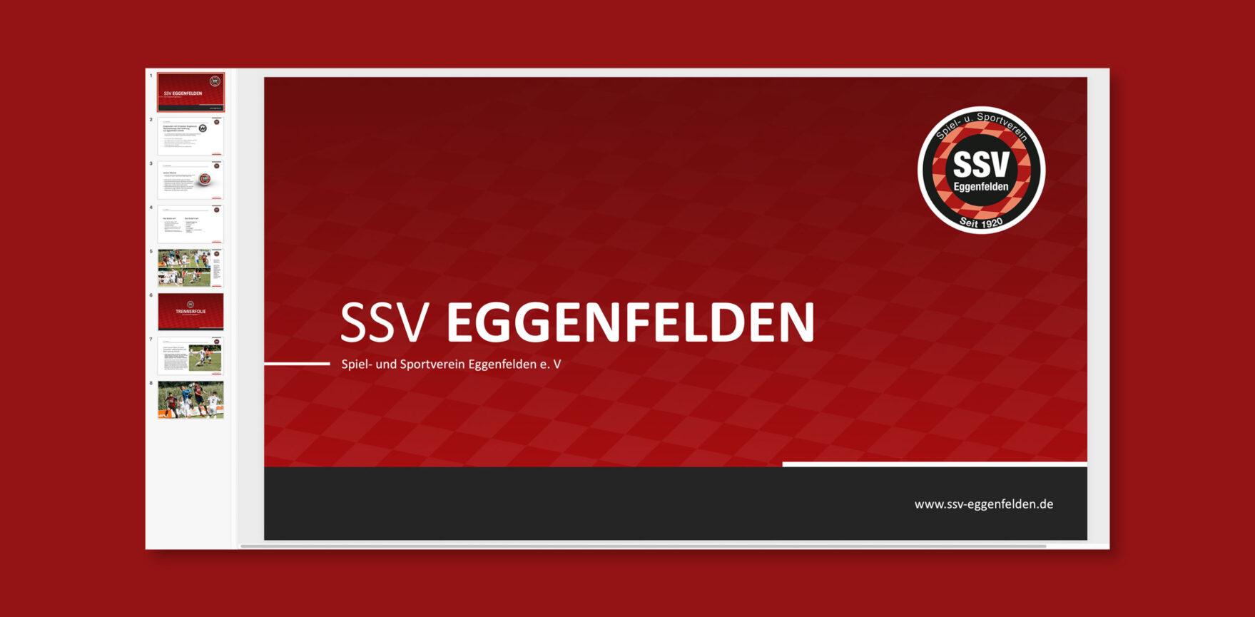 SSV Eggenfelden Microsoft PowerPoint-Masterfolien-Titelfolie-roter Hintergrund