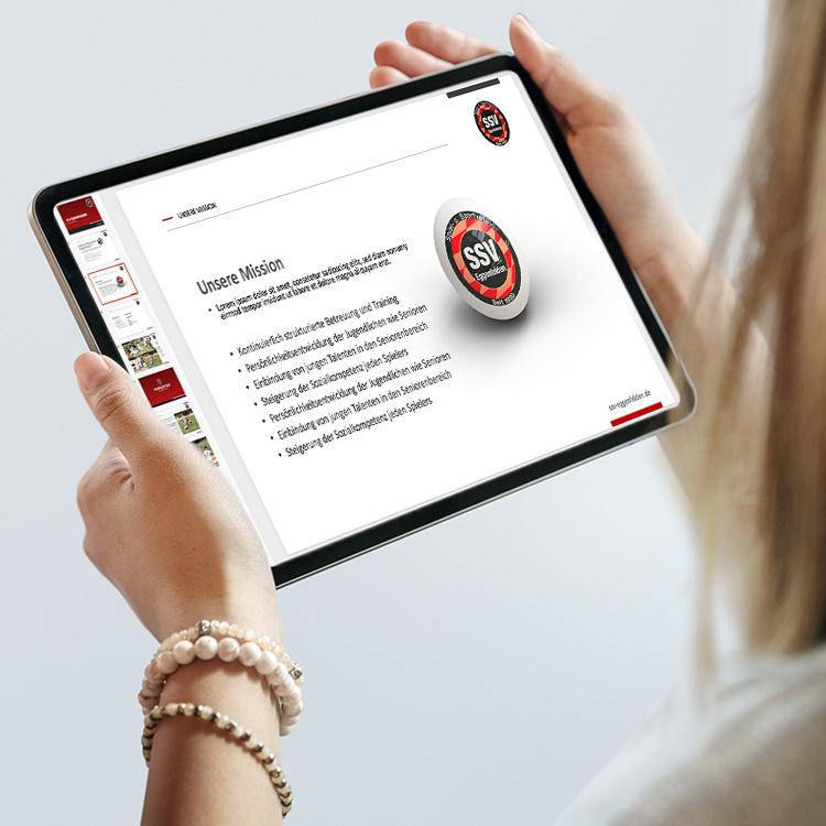 SSV Eggenfelden Microsoft PowerPoint-Masterfolien-Frau-Tablet