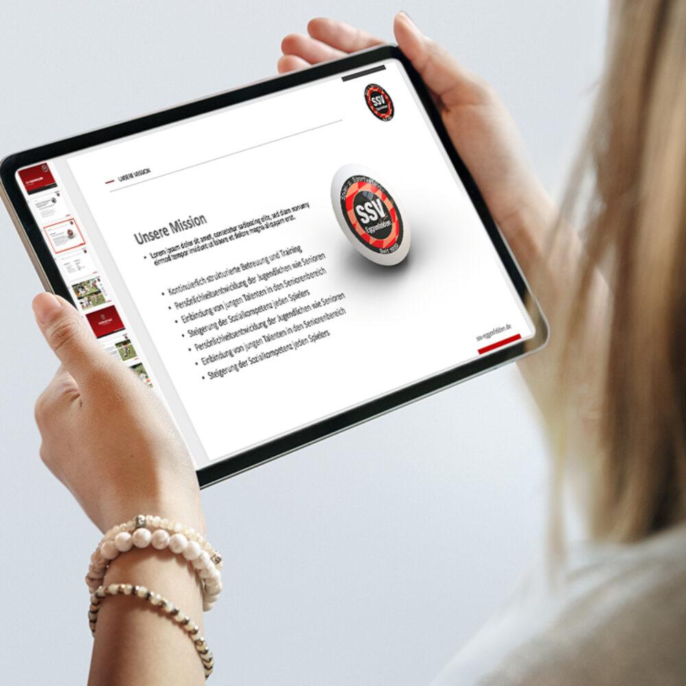 SSV Eggenfelden Powerpoint Folien-Frau-Tablet