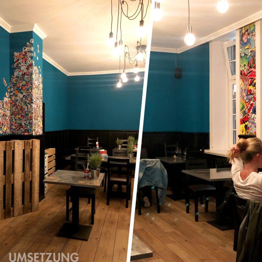 Teigfarbik Marke im Raum Interior