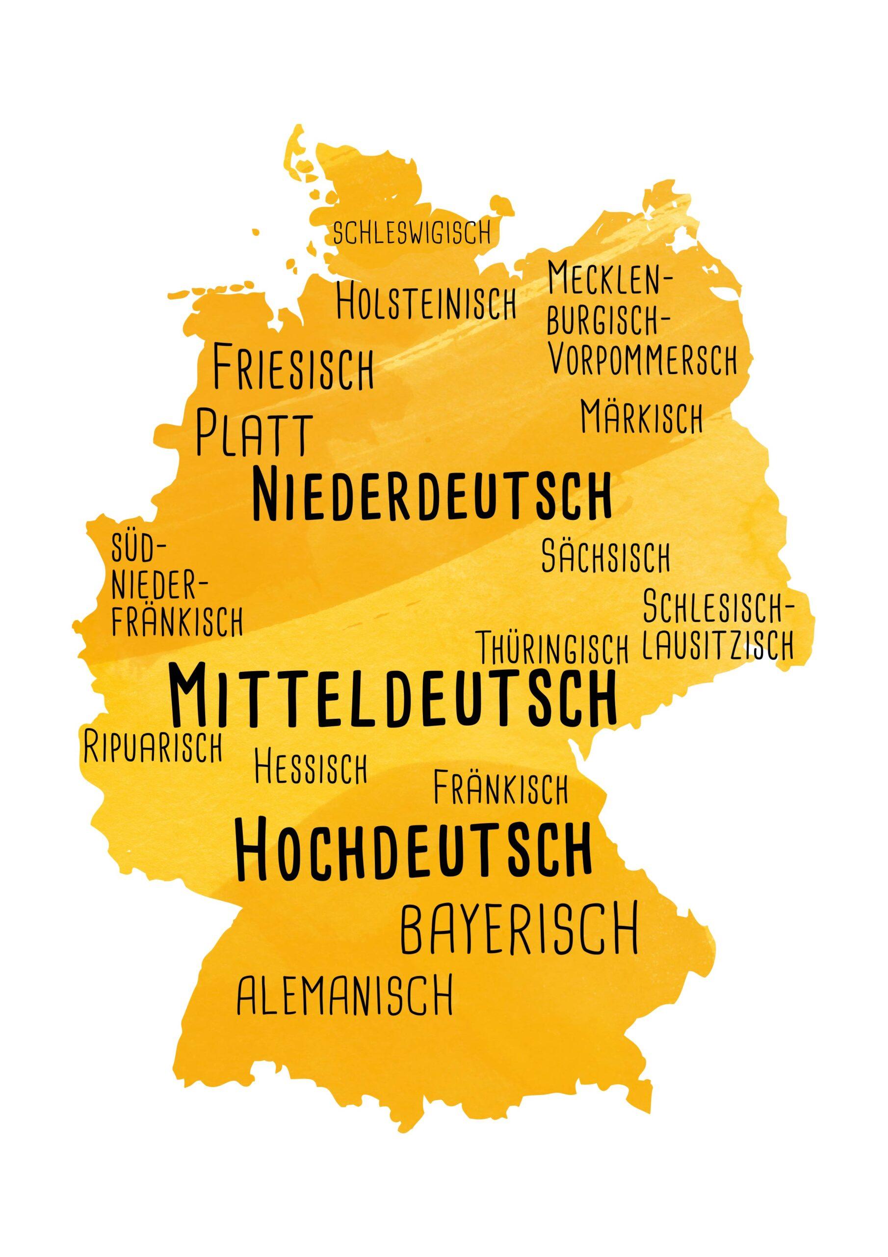 Deutschlandkarte mit Dialekten eingezeichnet