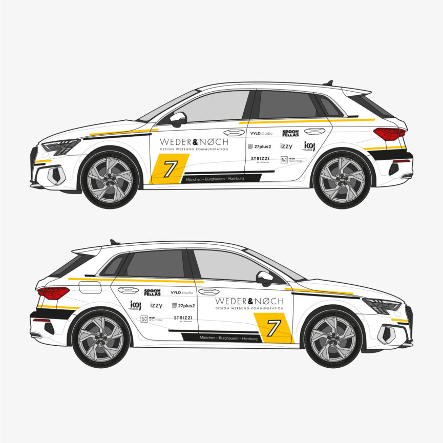 Weder & Noch Fahrzeugbeklebung Audi weiß