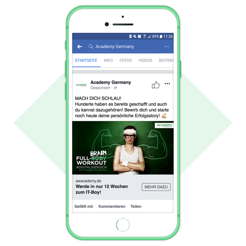 Facebook Ad Academic Work Academy Germany