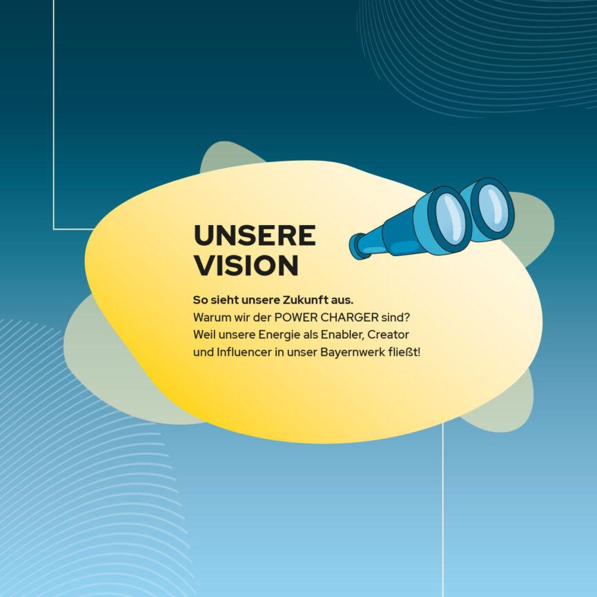 Bayernwerk AG Illustration Leitbild Vision mit Text bildlich dargestellt