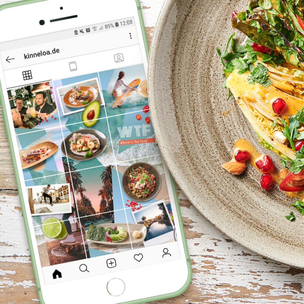 iPhone mit KINNELOA Instagram Grid