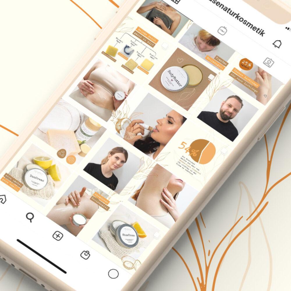 Phones with Social Media Instagram Grid