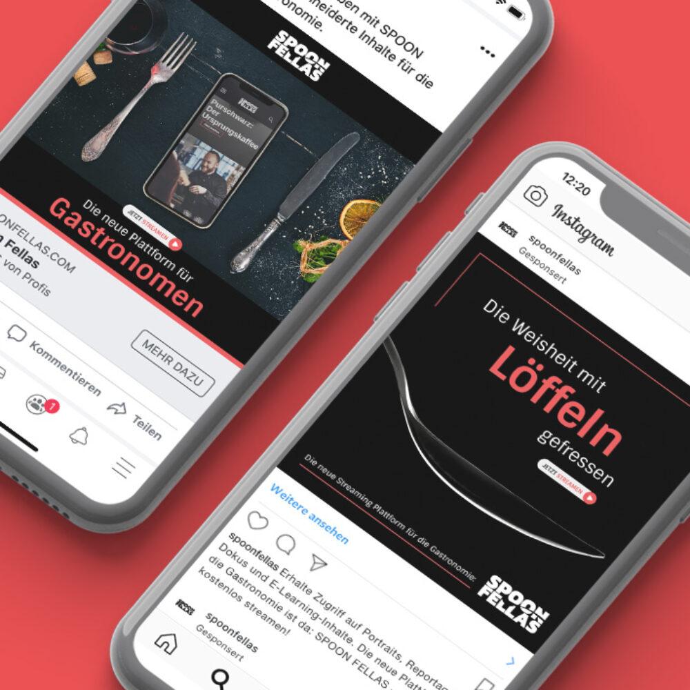 zwei Smartphones mit Bilder von Anzeigen für Videoplattform Spoon Fellas