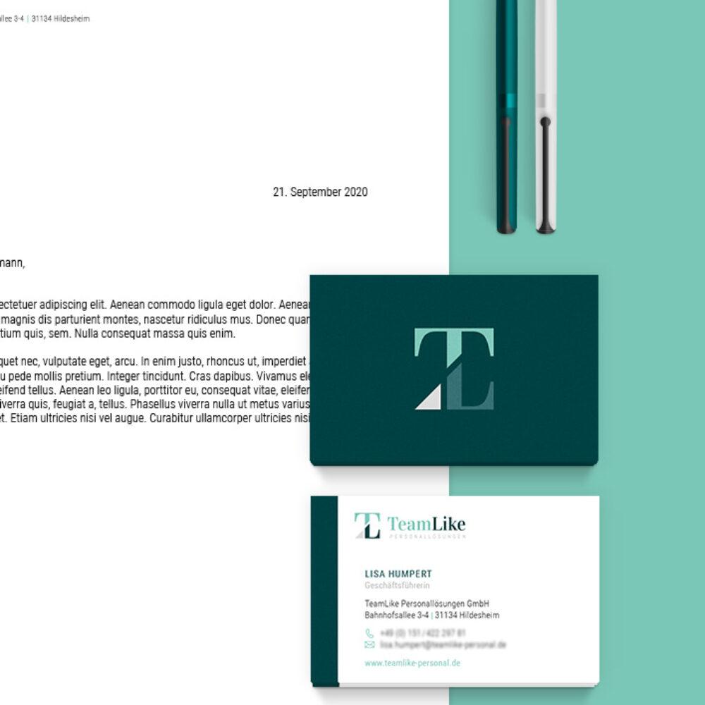 TeamLike Personalloesungen Beitragsbild Corporate Design Visitenkarten Brief